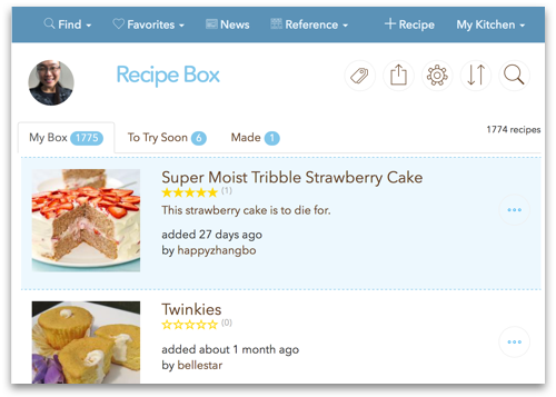 Sample recipe box