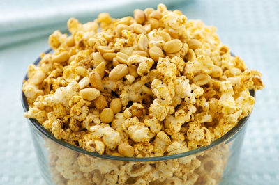 A bowl of healthy homemade popcorn, unlike the movies