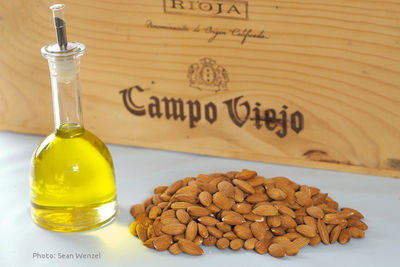 Olive oil, almonds and a case of red wine