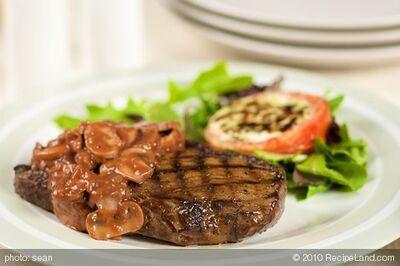 Grilled Sirloin Steak with Mushroom-Wine Sauce