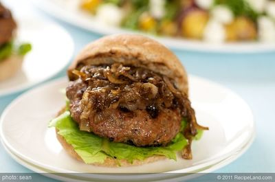 Beef Burgers with Caramelized Onions