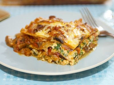 Four Cheese and Spinach Lasagna with Mushroom Ragu