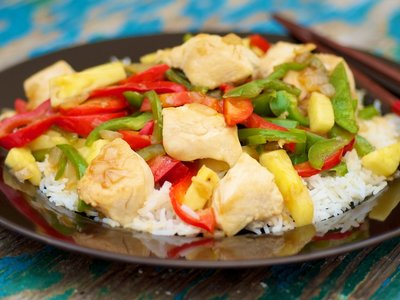 Asian Chicken, Peppers, Pineapple and Rice