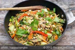 Chinese Stir-Fried Bok Choy with Spaghetti