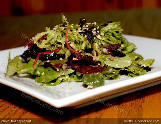 Spicy Green Salad with Soy and Roasted Garlic Dressing