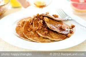 Banana Soy Milk Pancakes with Maple-Almonds