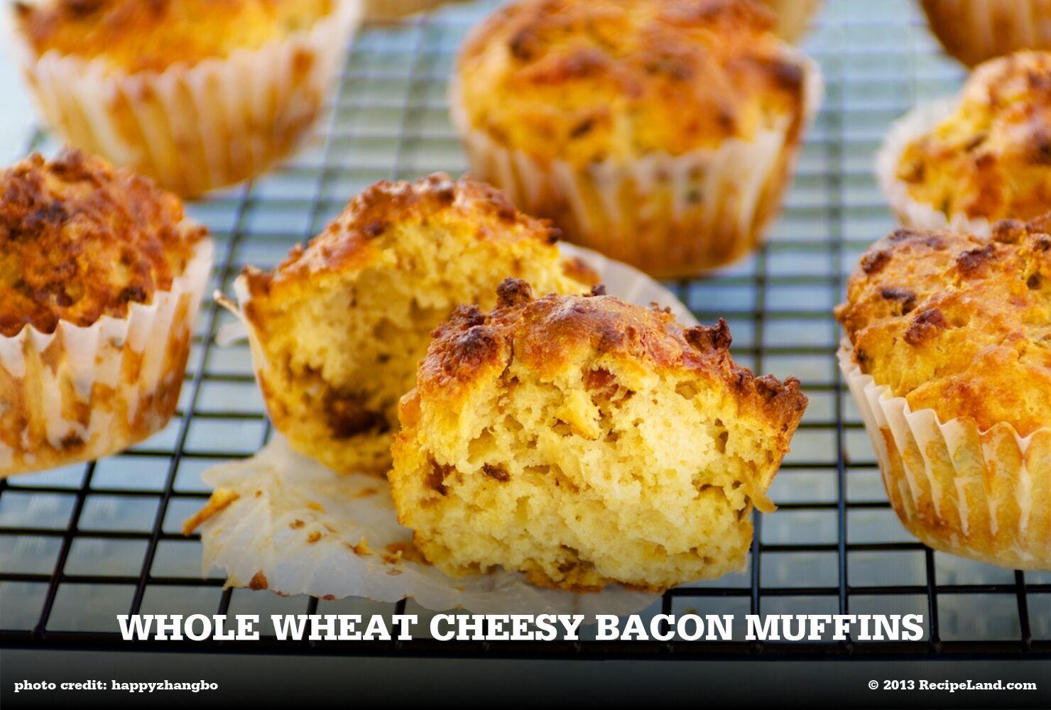 Whole Wheat Cheesy Bacon Muffins