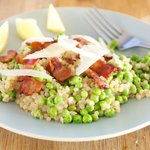 Israeli Couscous with Bacon and Peas