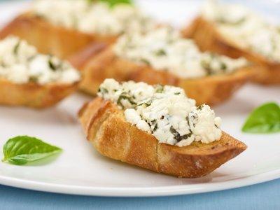 Basil Goat Cheese Crostini