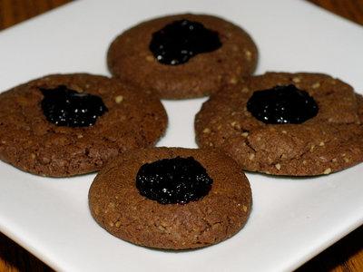 Chocolate Thumbprint Jam Cookies
