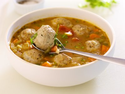 Turkey Balls, Veggies and Brown Rice Soup