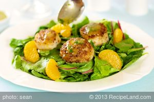 Coriander Spiced Scallops with Orange Ginger Dressing and Greens