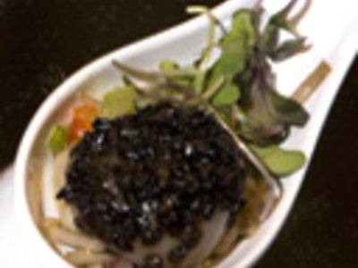Asian Style Grilled Scallops with Somen Noodle Salad and Cilantro Vinaigrette