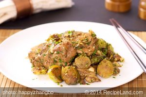 Chinese Roasted Chicken Thighs with Brussels Sprouts