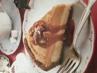 Pumpkin Ice Cream Pie with Caramel Pecan Sauce