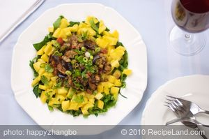 Indian Spiced Eggplant Lentil Salad with Fresh Mango