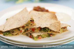 Broccoli and Mushroom Quesadillas