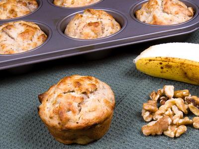 Super Moist Banana Black Walnut Muffins