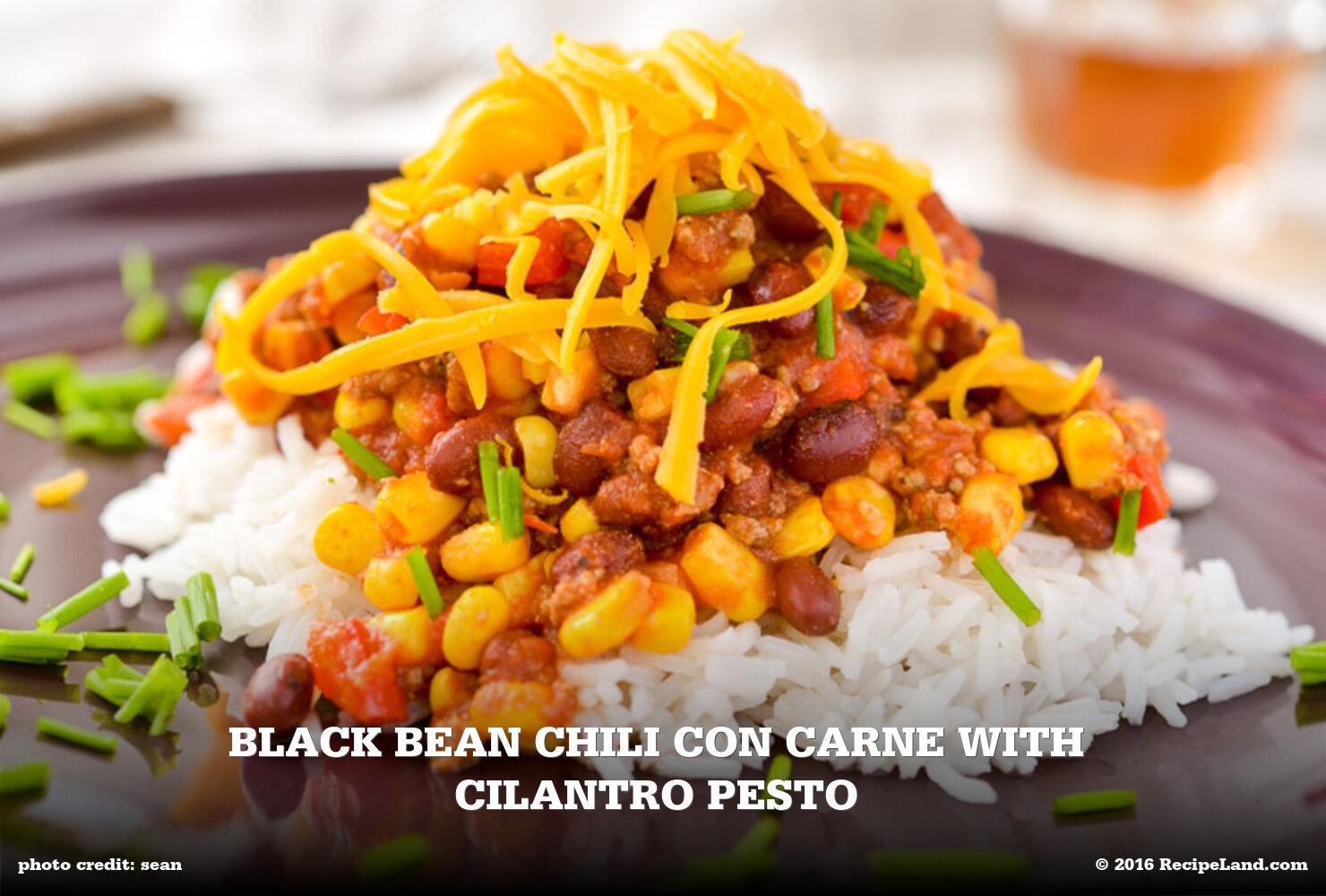 Black Bean Chili Con Carne with Cilantro Pesto