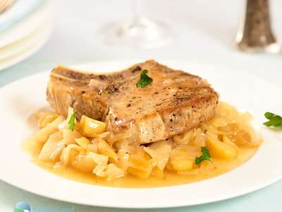 Slow Cooker Pork, Apples and Cabbage
