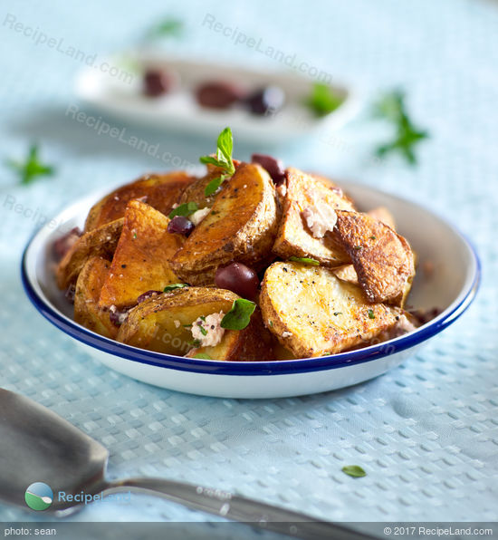 Oven-roasted Potatoes with Garlic, Olives, Feta and, Oregano