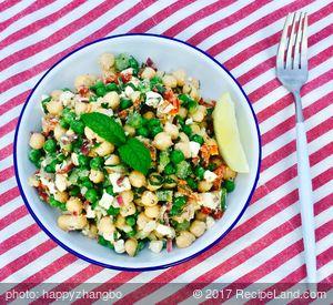 Amazing Mediterranean Chickpea and Pea Salad