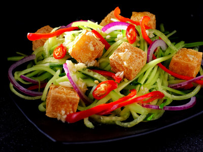 Crisp Tofu and Thai Cucumber Raita