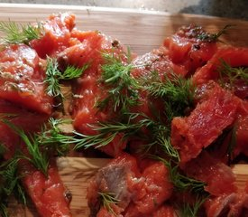 Pickled Salmon as Appetizer (Gravad Lax style)