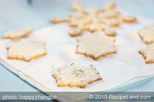 Almond Christmas Snow Flake Cookies