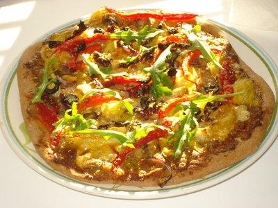 Basil Pesto, Artichoke Hearts, Sun-dried Tomato and Roasted Bell Pepper Pizza