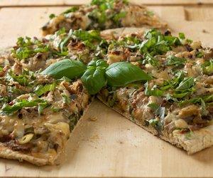 Mushroom Onion and Basil Pizza