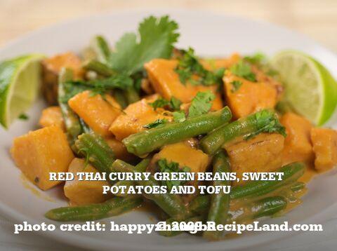 Red Thai Curry Green beans, Sweet potatoes and Tofu