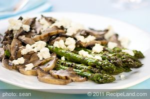 Grilled Asparagus and Portobello Mushrooms with Goat Cheese