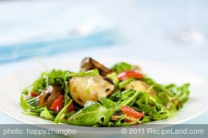 Grilled Potato Salad, Arugula and Roasted Peppers with Dijon Vinaigrette