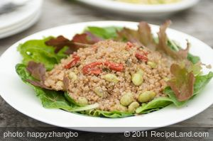 Quinoa Salad with Soy Bean, Roasted Pepper and Nuts