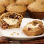 Cream Cheese Stuffed Honey Lemon Cranberry Muffins
