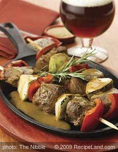 Pear & Lamb Kebabs With Harpoon Ale-Rosemary Pan Sauce
