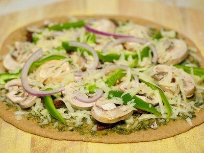 Oven-Dried Heirloom Tomato, Basil Pesto and Mozzarella Pizza