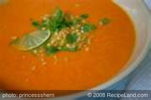 Carrot-Peanut Soup (Lacto Vegetarian)