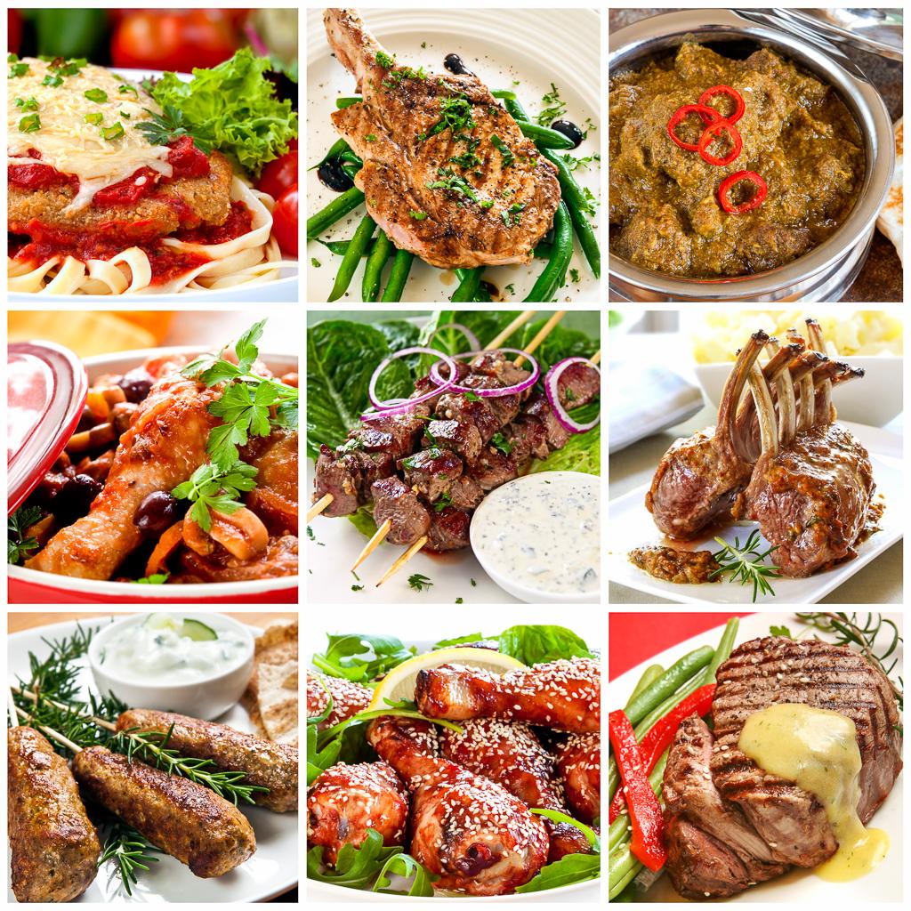 Beef, pork, chicken, variety of meats